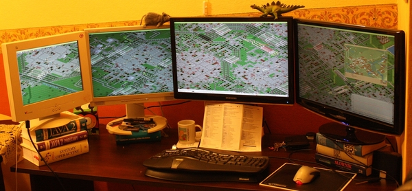 OpenTTD with four monitors