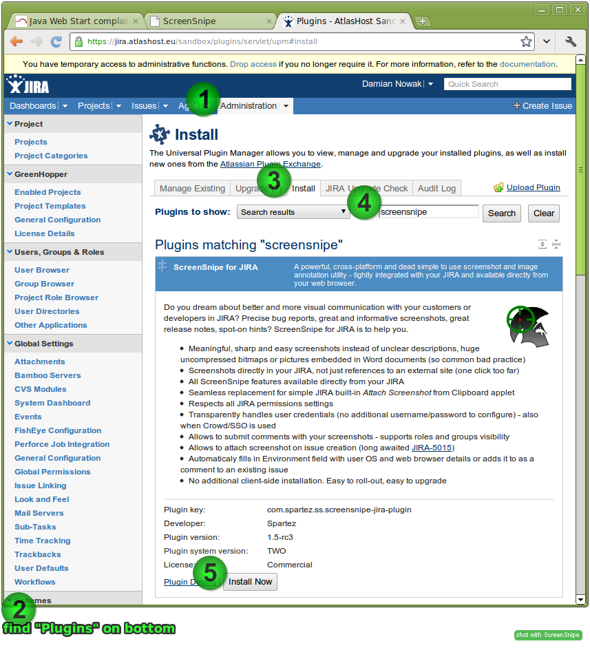 ScreenSnipe for JIRA install via UPM